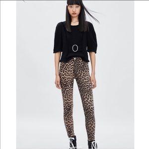 Zara Leopard Print Hi-Waist Skinny Jeans - 2 NEW